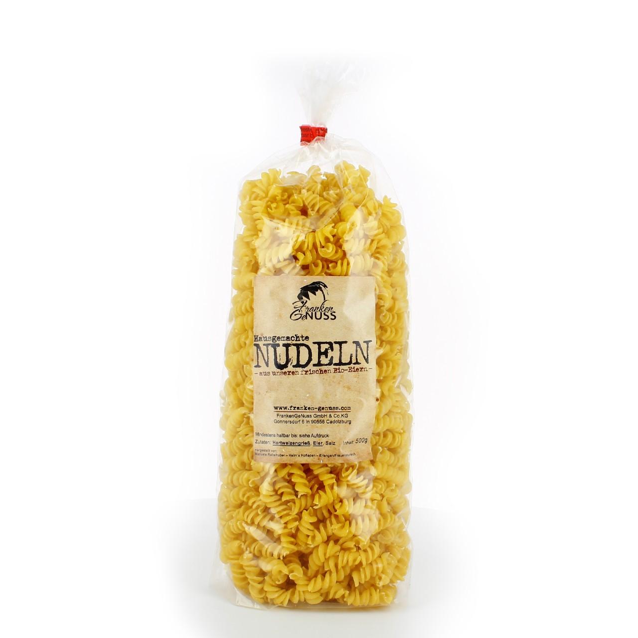 """Hausgemachte Nudeln """"Spirelli"""" - aus unseren frischen Bio-Eiern vom Huhn aus dem Haselnussfeld"""